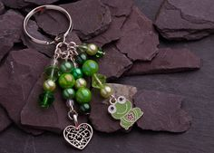 Green Beaded Keychain  Green Beaded Charm by CharmingThreadwares, £5.50