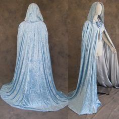 Lined Light Blue Velvet and Silver Satin Cloak Cape Wedding Wicca Medieval SCA | eBay