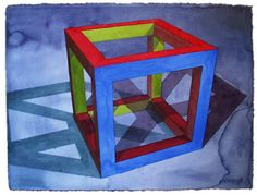 Ronald Davis,Open Cube, 1995 geometric artist