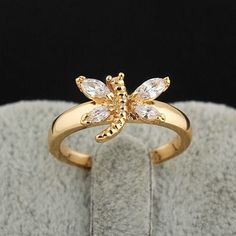 Size 5.5 GOLD plated tiny cz ringKnuckle by HappyRing on Etsy