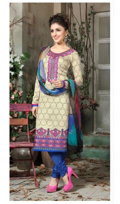 Classic Neon Cream Color Traditional Print Plum-S Cotton Material Patiala Salwar Suits