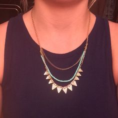 Gold and Teal Layered Necklace So cute!! Barely worn. Charlotte Russe Jewelry Necklaces