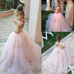 Spaghetti Petal Tutu Pageant Formal Gowns Blush Pink Flower Girl Dresses Custom #Dress