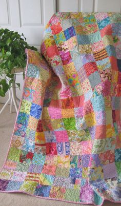 Patchwork Quilt Quilted Blanket Traditional Quilt by PeppersAttic