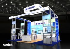Nimlok specializes in portable modular exhibits and technology trade shoe booths. For Nichia, we desgined a large-scale exhibit to meet their marketing objectives.