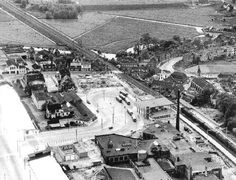 1950 - 1955. An aerial view of Sloterdijk in Amsterdam with in the center the train station Sloterdijk, under construction