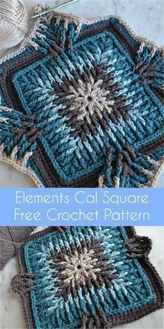 EN PDF Elements Cal Square for Blankets, Pillows, Centrepieces [Free Crochet Pattern]Elements Cal started in December 2017 and has been a hit ever since then. Elements Cal started in December 2017 and has been a hit ever since then.Elements Cal startete i Motifs Granny Square, Crochet Blocks, Granny Square Crochet Pattern, Afghan Crochet Patterns, Crochet Squares, Knitting Patterns, Granny Squares, Baby Patterns, Knitting Ideas