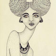 Afro puffs! #illustration #dotwork #pattern #afropuff
