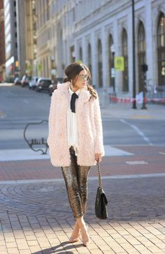 Fuzzy pink coat + sequin sweatpants = our dream outfit via @glitterguide