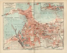 ALEXANDRIA MAP EGYPT from 1908 Vintage Maps, Antique Maps, Roman City, Walled City, City Maps, Egyptian, Africa, Archaeology, Urban