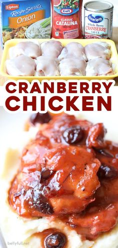 Easy Cranberry Chicken only requires 5 minutes of prep a few pantry staples and is super delicious. Weeknight dinner l. Kraft Foods, Kraft Recipes, Easy Chicken Recipes, Crockpot Recipes, Cooking Recipes, Meal Recipes, Quick Recipes, Vegetarian Recipes, Recipes