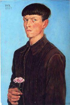 otto dix(1891-1969), self-portrait, 1912. oil, tempera on panel, 49.5 x 73.6 cm. detroit institute of arts, detroit, michigan, usa http://www.wikiart.org/en/otto-dix/self-portrait-1912