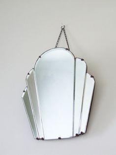 Art Deco Wall Mirror vintage large art deco bevelled edge wall mirror frameless mirror
