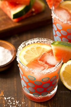 These cold and refreshing Watermelon Lemonade Margaritas are the perfect summer cocktail for when you want to kick up your feet and relax.