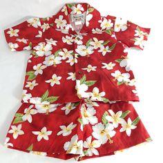 Vintage Hawaiian red white orange floral top tunic sz SM Paradise Hawaii
