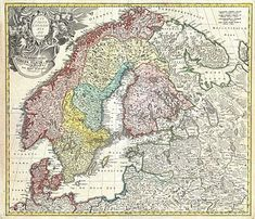 "A detailed eighteenth-century map of Scandinavia by J. B. Homann, depicting Denmark, Norway, Sweden, Finland and the Baltic states of Livonia, Latvia and Curlandia. The map notes fortified cities, villages, roads, bridges, forests, castles and topography. The elaborate title cartouche in the upper left quadrant features angels supporting a title curtain and a medallion supporting an alternative title in French, ""Les Trois Covronnes du Nord""."