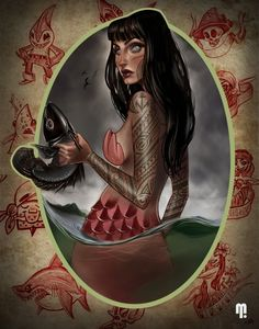Dinner time Picture  (2d, fantasy, mermaid, tattoo, pin up, polynesian, character)