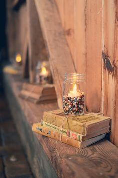 Rustic Design (red beans and rice, ode to Louisiana) and books (brides love of books)