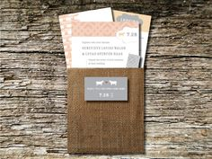 Barn Wedding Invitations - Burlap Pouch.