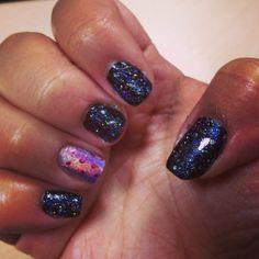 Galaxy nails with polka dot signature nail