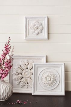 Make beautiful art for your wall using ceiling medallion, frame and paint