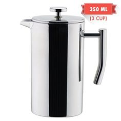 Double Walled French Press Tea//Coffee Maker 350 mL // 12 fl oz Premium Stainless Steel GoldTone Brand Portable French Press Vacuum Insulated Travel Mug Black