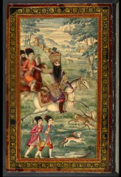 The Shah hunting and a floral arrangement on the inside and outside of the contemporary lacquer binding of Fath ʻAli Shah Khaqan's Dīvān