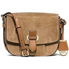 Michael Michael Kors Romy Suede Medium Messenger ($224) ❤ liked on Polyvore featuring bags, messenger bags, desert, messenger bag, courier bag, shoulder strap bag, suede bag and beige bag