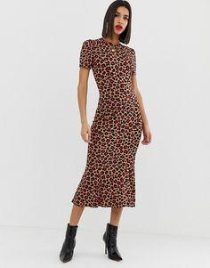 e1b3d281dfac ASOS DESIGN city maxi tea dress in animal print | ASOS New Look Midi Dress,