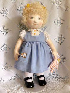 "Handmade,rag/cloth doll OOAK 15"" Sharon by Brenda Brightmore."