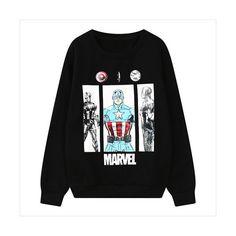 Black Superhero Print Loose Sweatshirt 15SS00168-1 ($22) ❤ liked on Polyvore featuring tops, hoodies, sweatshirts, black, sweat shirts, print comic book, loose sweatshirt, loose fitting tops and cartoon sweatshirts
