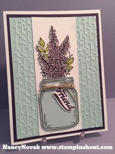 Lots of Lavender Stampin Up, Jar of Love, Petal Pairs. Click for details on my weekly Facebook Webcasts on how to stamp cards.