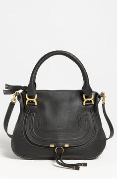 "Chloé 'Marcie - Small' Leather Satchel in BLACK. Dimensions: 14""W x 10 1/2""H x 4 1/2""D. Strap drop: 6"". Shoulder strap drop: 17 1/2""."
