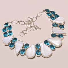 ANTIQUE ABALONE SHELL WITH FACETED SWISS BLUE TOPAZ .925 SILVER NECKLACE #Handmade #Choker