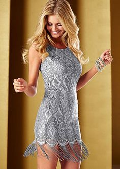 The Great Gatsby inspired Silver Fringe Hem Dress