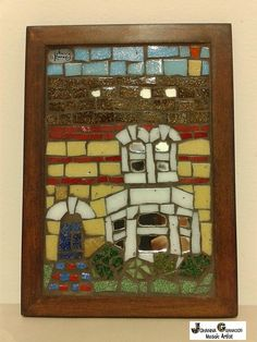 Mosaic English Townhouse in Cambridge (15x10 cm). Made with Venetian tiles and mirror. #Mosaic #Art #English #Townhouse #Cambridge #FolkArt #NaiveArt