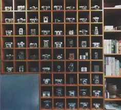 camera collection in custom made shelves. this is like an ultimate dream come true