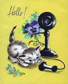 vintage katten kaart,hallo hoor je mij ,ik ben jarig hoor hallo ben jij daar,.................lb