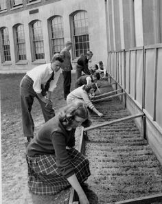 1944 Victory Gardens being planted at P.S. duPont School.  From the Delaware in World War II collection at the Delaware Public Archives.