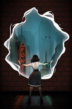 Bioshock Infinite: Burial At Sea Print by LiliaSmithDesigns Bioshock 2, Bioshock Infinite, Bioshock Series, Bioshock Artwork, Bioshock Rapture, Video Game Art, Video Games, Elizabeth Comstock, Arte Grunge