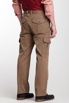 "Justin Khaki Cargo Pant in khaki by Mr. Turk $218 - $31 at HauteLook. [Back] - Zip fly with button closure - 6 pocket construction - Side and back cargo pockets - Straight leg - Front button belt loops - Approx. 10"" rise, 33"" inseam - Made in USA Fit: this style fits true to size. Model's stats: - Height: 6'1"" - Waist: 32"" - Inseam: 32"" Model is wearing size 32. Dry clean 55% cotton, 30% polyester, 13% viscose, 2% elastane."