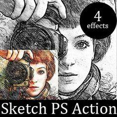 Pencil Sketch Photoshop Action (Special-Effects-And-Textures) Photoshop Lessons, Sketch Photoshop, Free Photoshop, Photoshop Brushes, Photoshop Tutorial, Photoshop Actions, Photoshop Projects, Photo To Pencil Sketch, Realistic Pencil Drawings