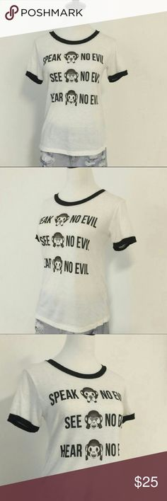 No evil tee Oatmeal color with black trim; speak no evil, see no evil, hear no evil. Made in USA; 95% polyester 5% flax - this is the softest tee!!!! April Spirit Tops Tees - Short Sleeve