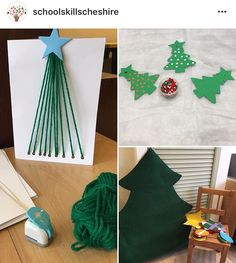 Christmas tree week. Decorate large and small trees. Thread the green wool to make a card and match Pom poms to spots to decorate the small trees