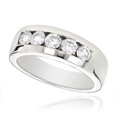 Luxurman 14k Gold Men's 1ct TDW 5-stone Diamond Wedding Band (G-H, SI1-SI2) (14k Rose Gold Size 12.5), Pink