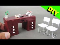 DIY Miniature Realistic Office Desk and Chairs  Dollhouse # 1 - YouTube