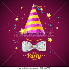 Party Card or Placard with a Cap and Bow Tie. Vector illustration