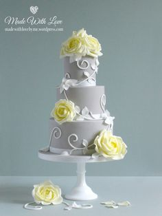 Beautiful Cake Pictures: Pretty Yellow Roses on Grey Tiered Cake: Cakes with Flowers, Wedding Cakes