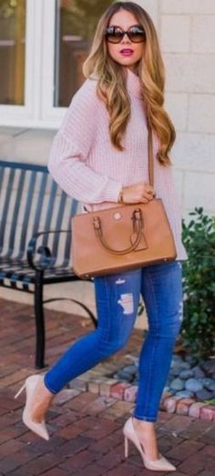 Oversized sweater and Sunglasses with denim and nude pumps | The Teacher Diva #oversized