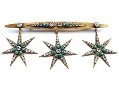 Joseff of Hollywood Bar Pin with Rhinestone Stars